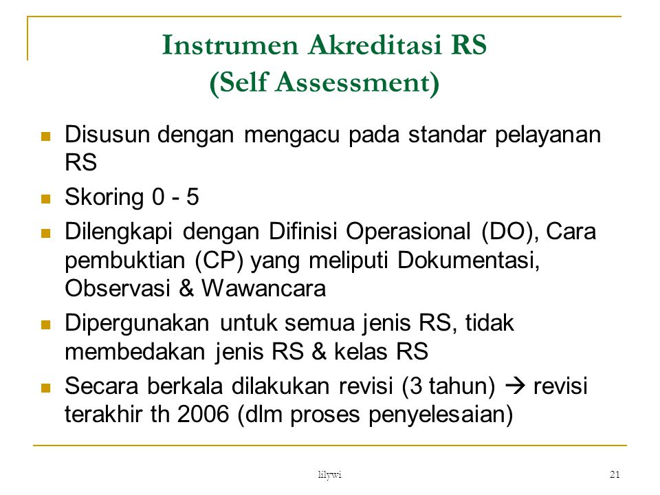 Instrumen Akreditasi RS (Self Assessment)