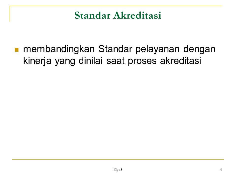 Standar Akreditasi membandingkan Standar pelayanan dengan kinerja yang dinilai saat proses akreditasi.