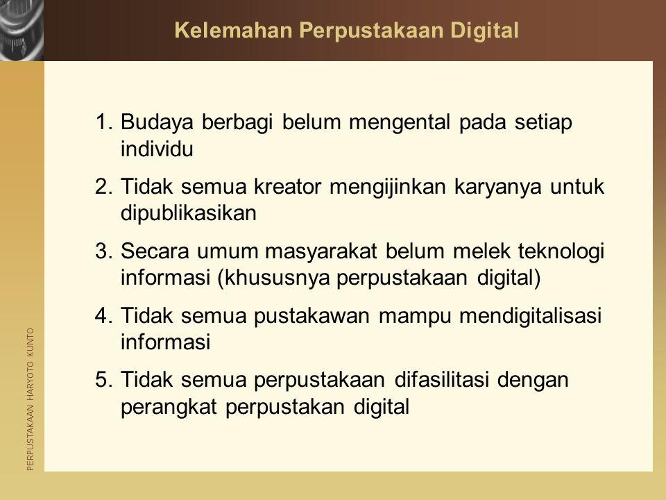 Kelemahan Perpustakaan Digital