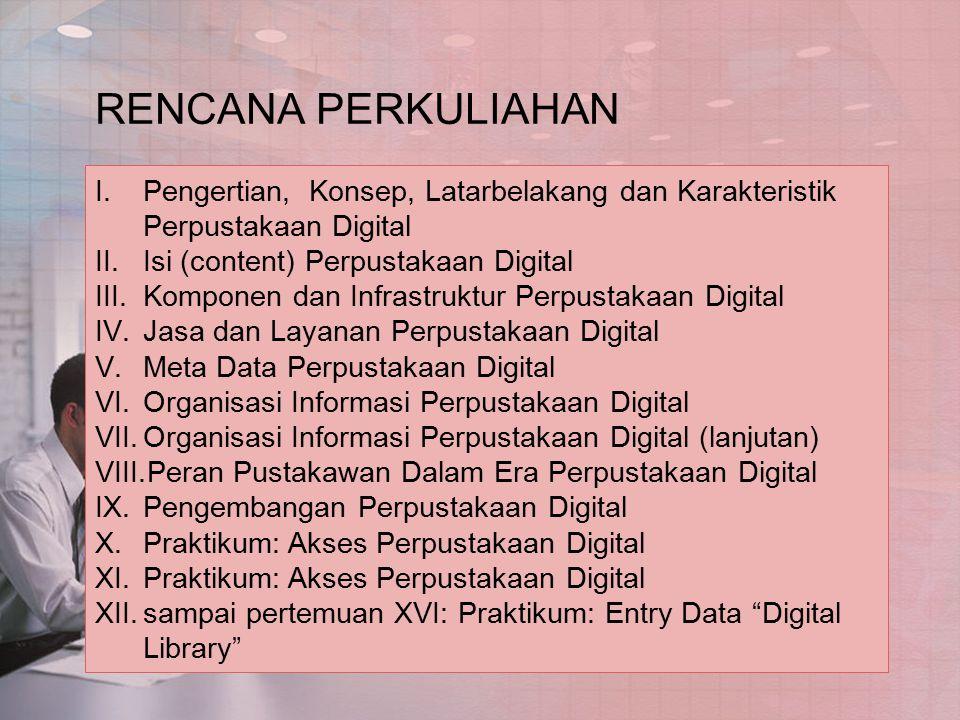 RENCANA PERKULIAHAN Pengertian, Konsep, Latarbelakang dan Karakteristik Perpustakaan Digital. Isi (content) Perpustakaan Digital.