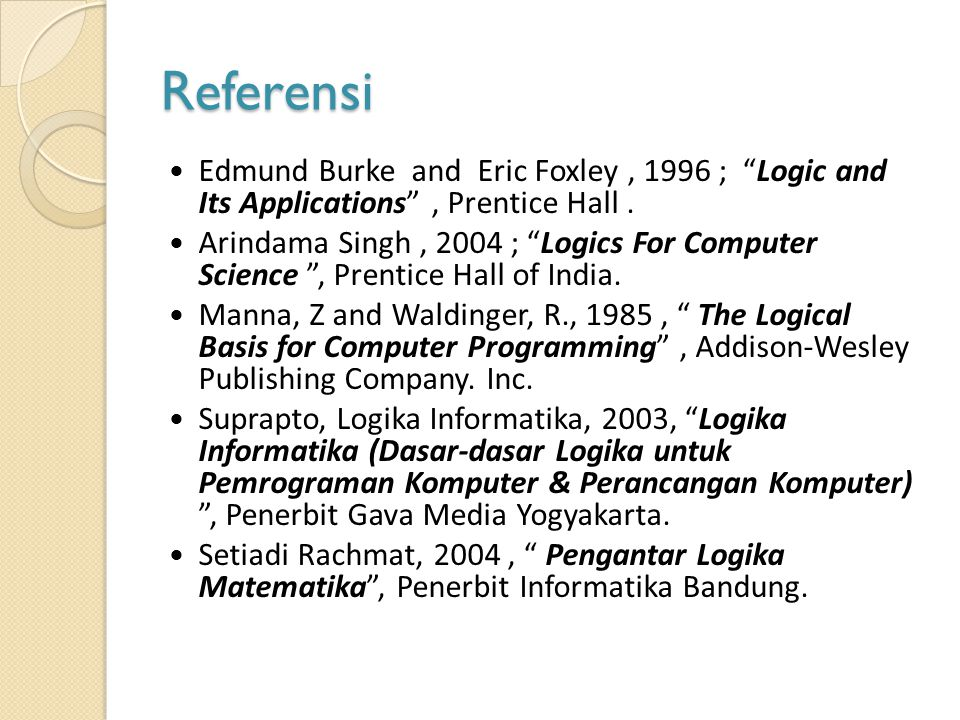 Referensi Edmund Burke and Eric Foxley , 1996 ; Logic and Its Applications , Prentice Hall .
