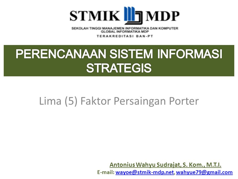 Lima (5) Faktor Persaingan Porter