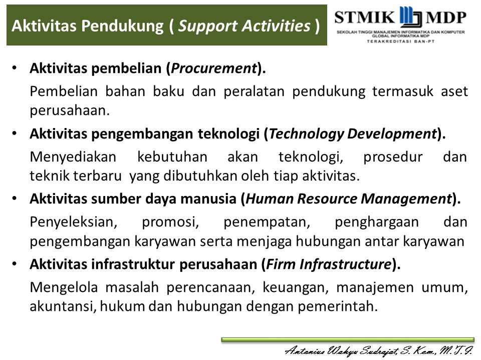 Aktivitas Pendukung ( Support Activities )