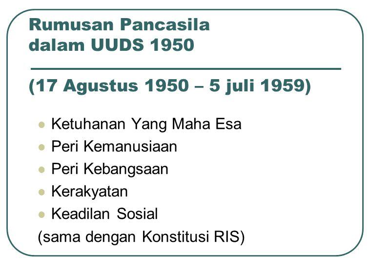 Rumusan Pancasila dalam UUDS 1950 (17 Agustus 1950 – 5 juli 1959)