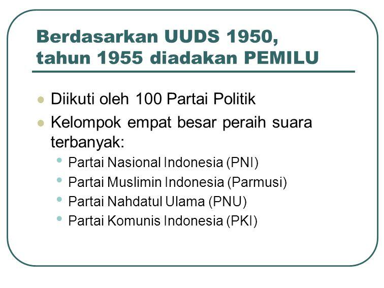 Berdasarkan UUDS 1950, tahun 1955 diadakan PEMILU