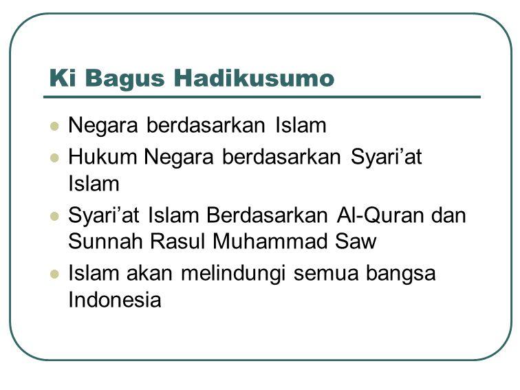 Ki Bagus Hadikusumo Negara berdasarkan Islam