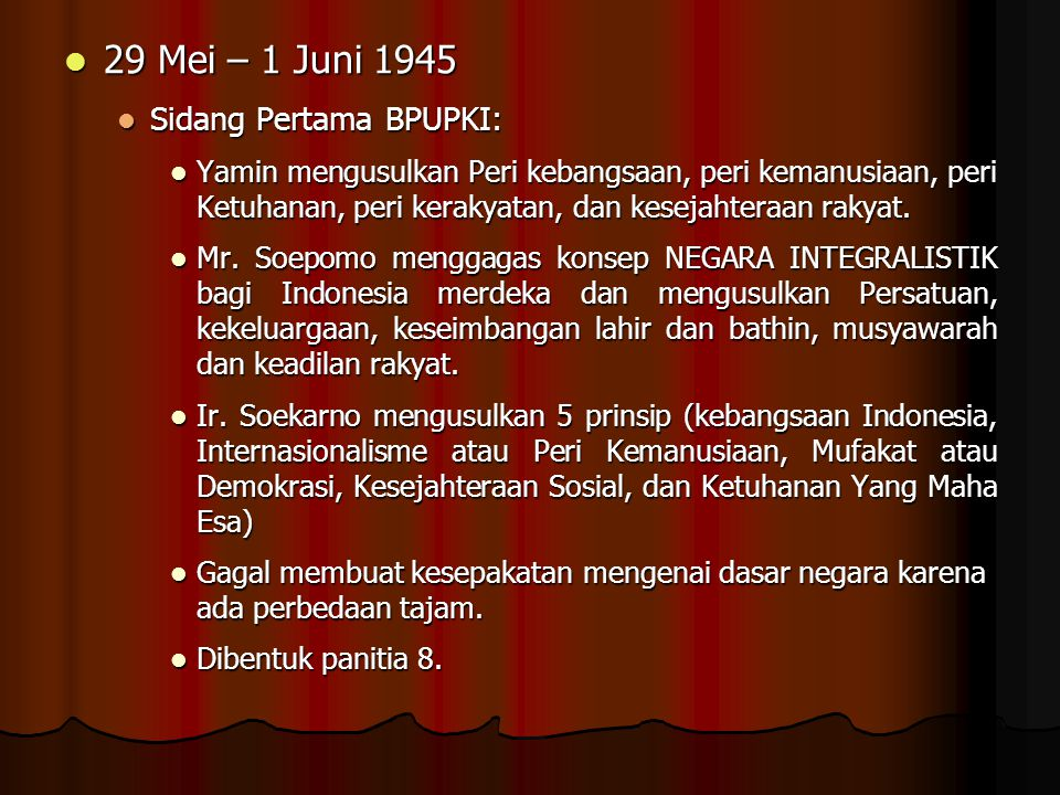 29 Mei – 1 Juni 1945 Sidang Pertama BPUPKI: