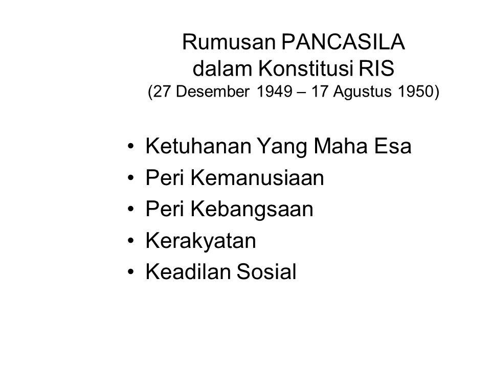 Rumusan PANCASILA dalam Konstitusi RIS (27 Desember 1949 – 17 Agustus 1950)