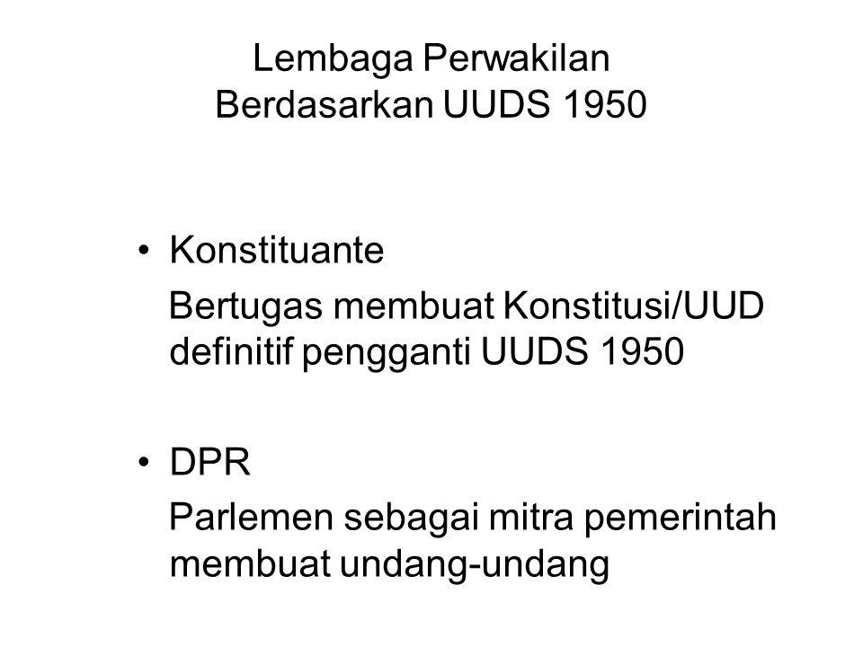 Lembaga Perwakilan Berdasarkan UUDS 1950