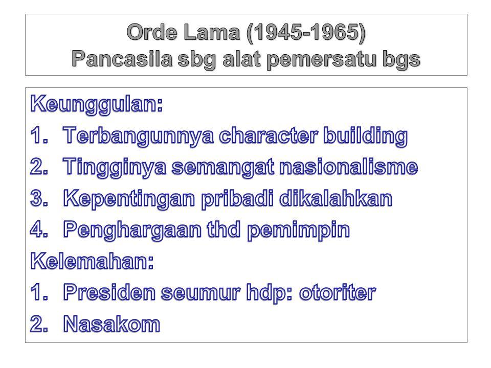 Orde Lama (1945-1965) Pancasila sbg alat pemersatu bgs