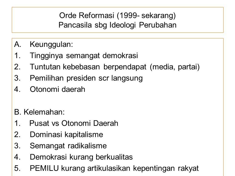 Orde Reformasi (1999- sekarang) Pancasila sbg Ideologi Perubahan