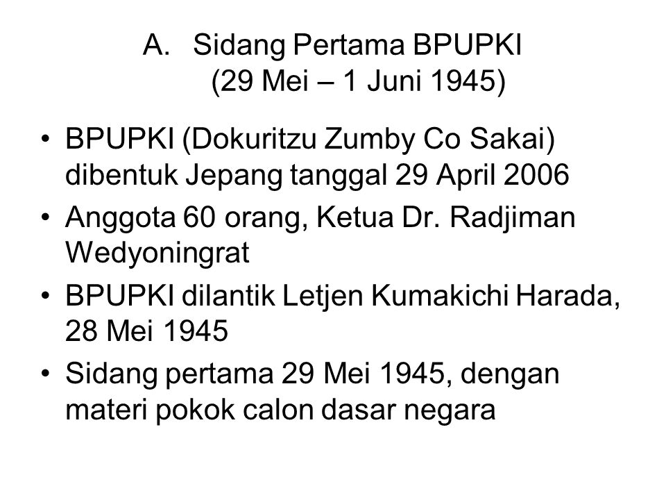 Sidang Pertama BPUPKI (29 Mei – 1 Juni 1945)