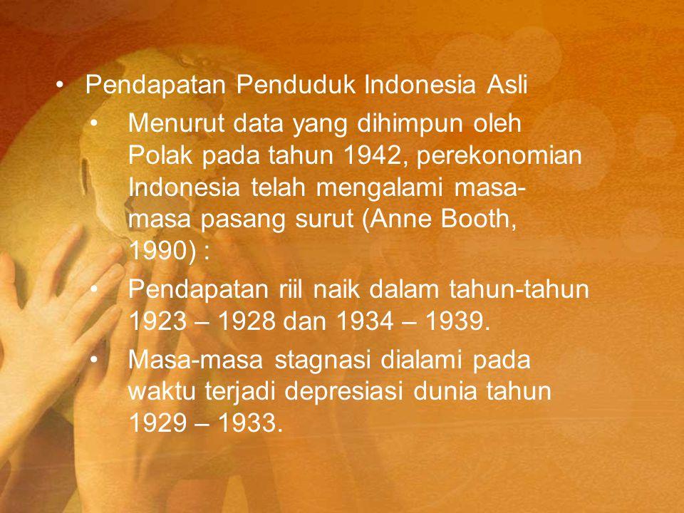 Pendapatan Penduduk Indonesia Asli