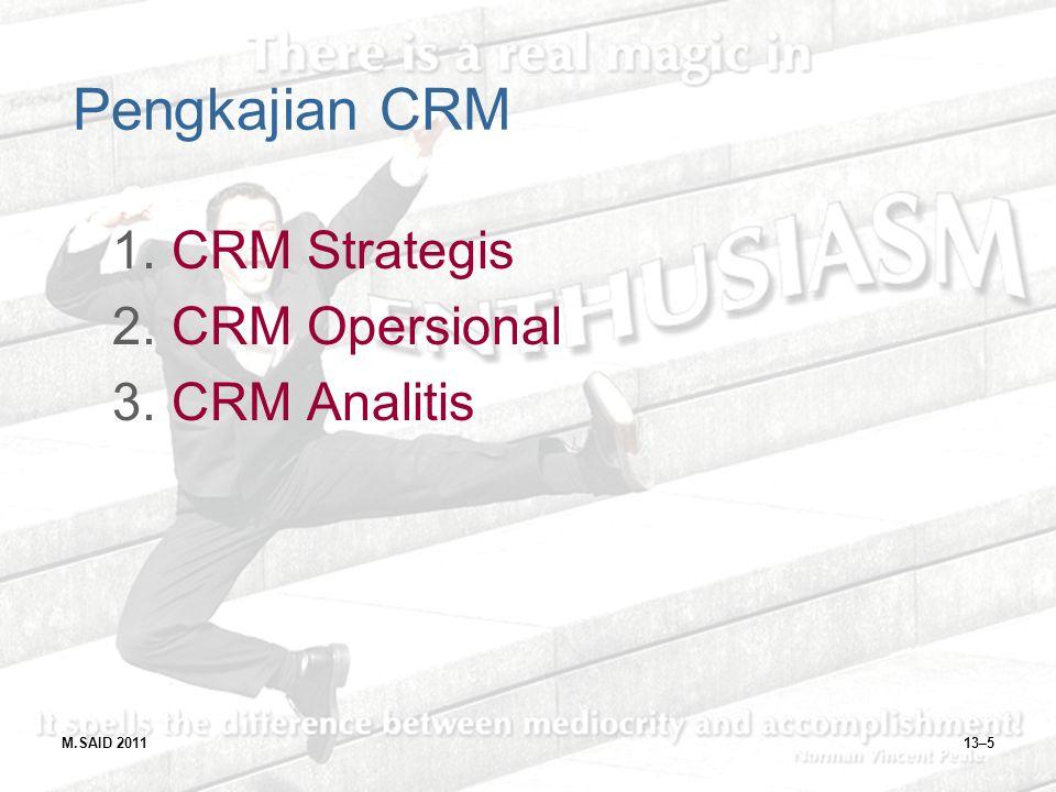 Pengkajian CRM CRM Strategis CRM Opersional CRM Analitis M.SAID 2011