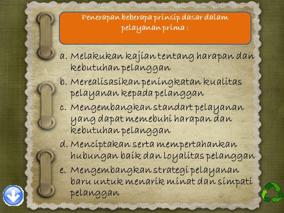 Penerapan beberapa prinsip dasar dalam pelayanan prima :