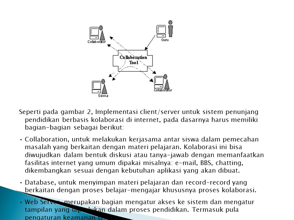 Seperti pada gambar 2, Implementasi client/server untuk sistem penunjang pendidikan berbasis kolaborasi di internet, pada dasarnya harus memiliki bagian-bagian sebagai berikut: