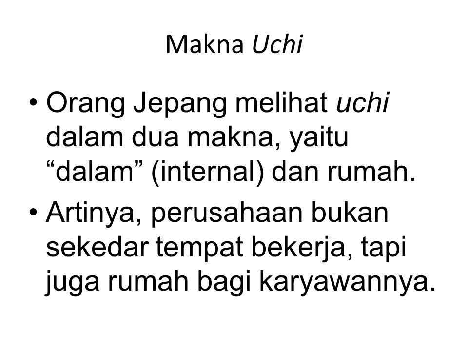 Makna Uchi Orang Jepang melihat uchi dalam dua makna, yaitu dalam (internal) dan rumah.