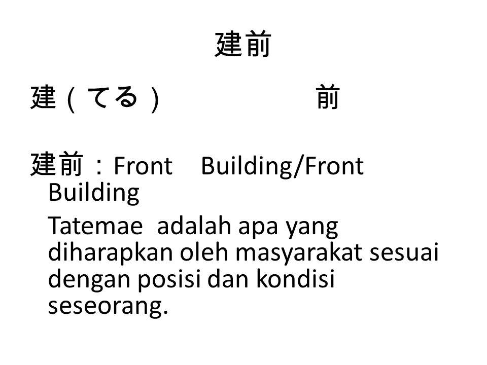 建前 建(てる) 前 建前:Front Building/Front Building