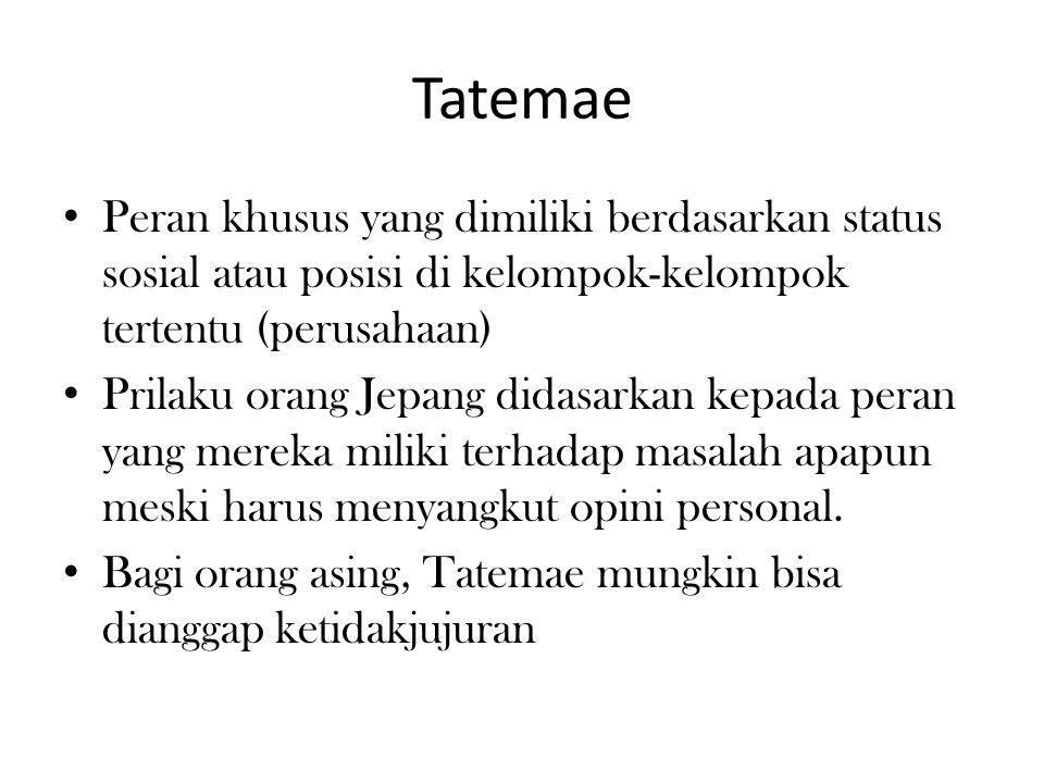 Tatemae Peran khusus yang dimiliki berdasarkan status sosial atau posisi di kelompok-kelompok tertentu (perusahaan)
