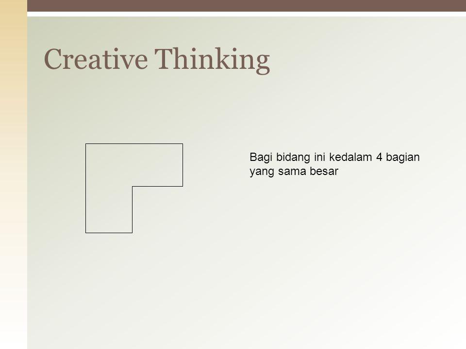 Creative Thinking Bagi bidang ini kedalam 4 bagian yang sama besar