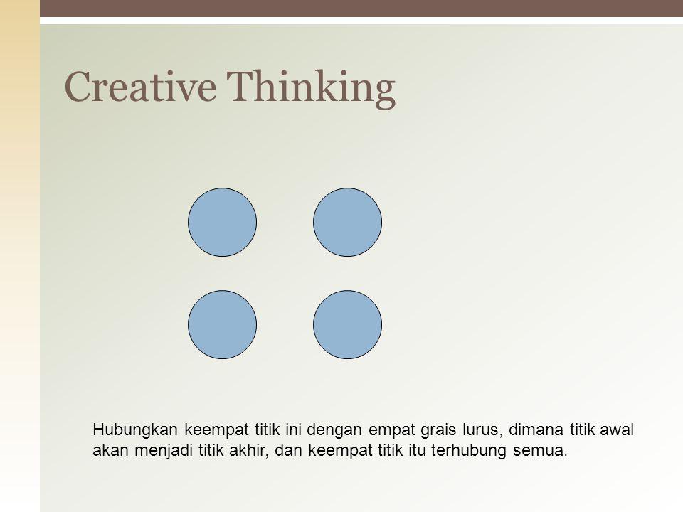 Creative Thinking Hubungkan keempat titik ini dengan empat grais lurus, dimana titik awal.
