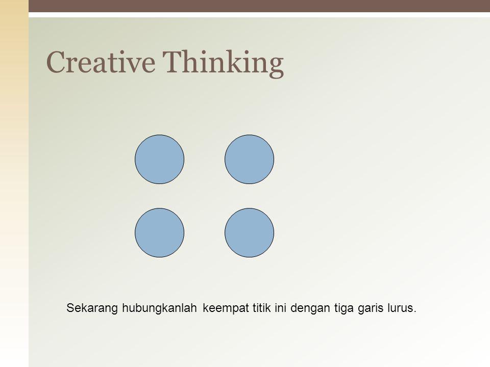 Creative Thinking Sekarang hubungkanlah keempat titik ini dengan tiga garis lurus.