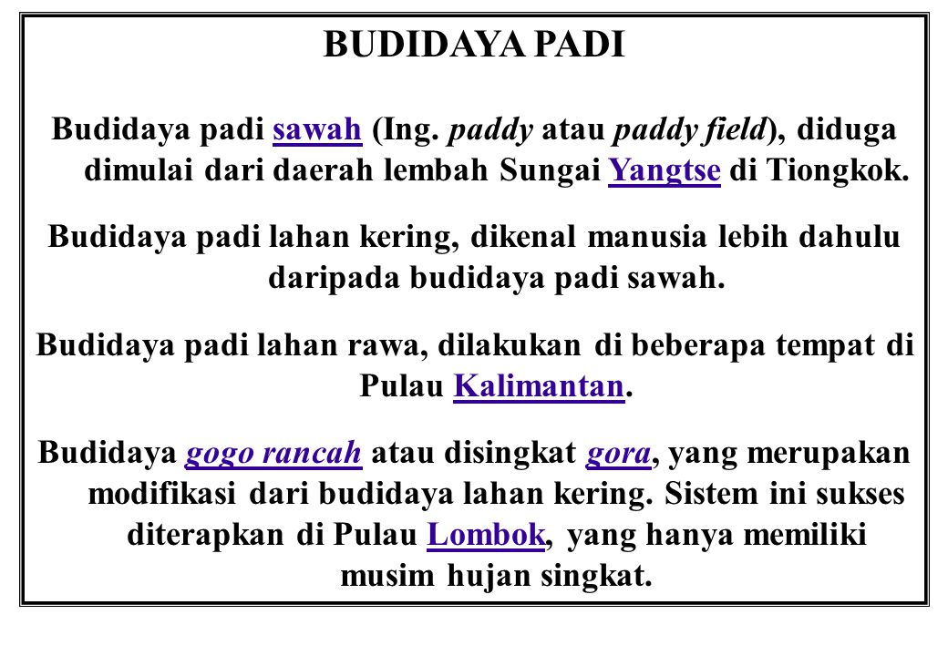 BUDIDAYA PADI Budidaya padi sawah (Ing. paddy atau paddy field), diduga dimulai dari daerah lembah Sungai Yangtse di Tiongkok.