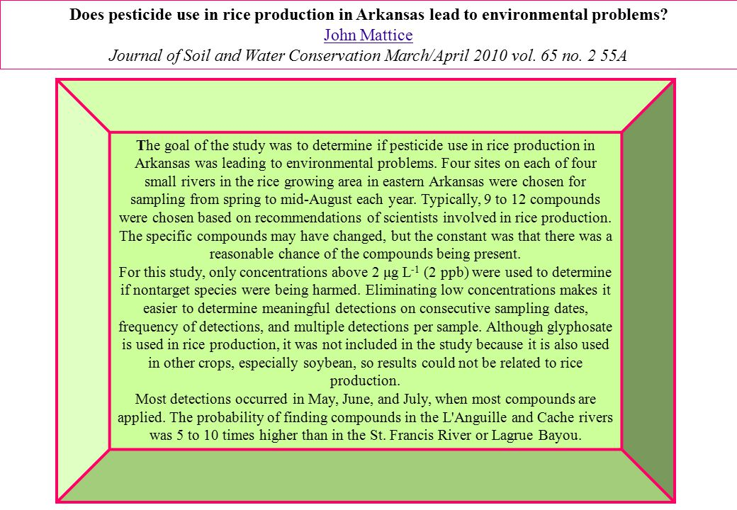 Does pesticide use in rice production in Arkansas lead to environmental problems