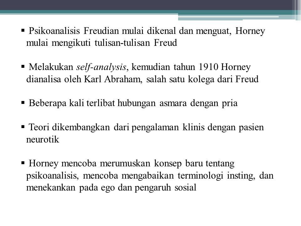 Psikoanalisis Freudian mulai dikenal dan menguat, Horney mulai mengikuti tulisan-tulisan Freud