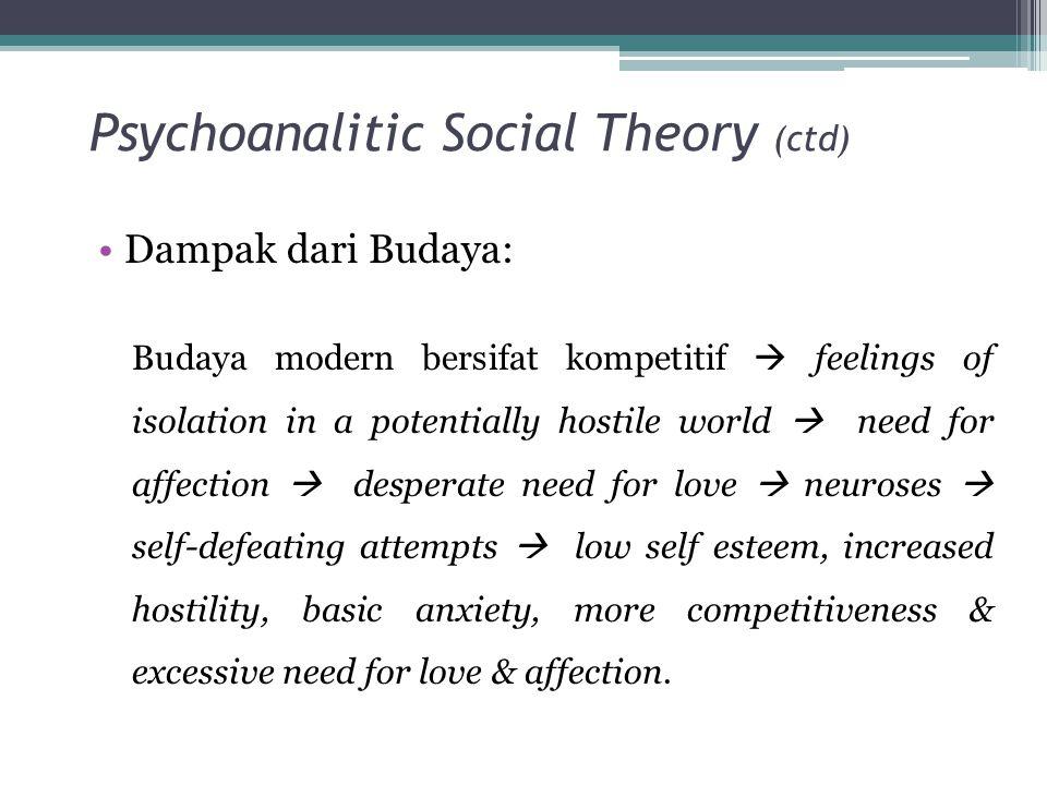Psychoanalitic Social Theory (ctd)