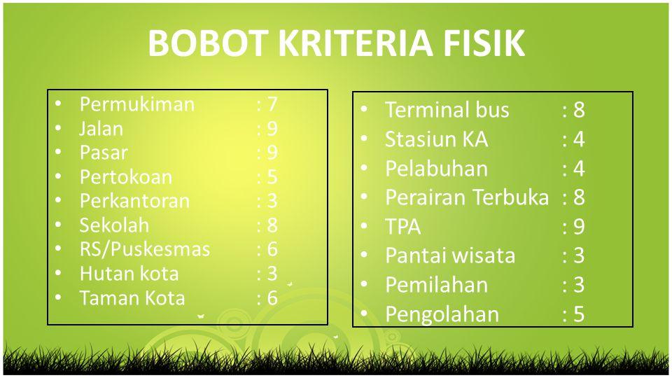 BOBOT KRITERIA FISIK Terminal bus : 8 Stasiun KA : 4 Pelabuhan : 4