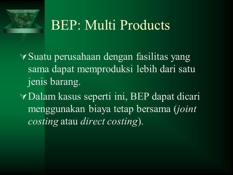 BEP: Multi Products Suatu perusahaan dengan fasilitas yang sama dapat memproduksi lebih dari satu jenis barang.