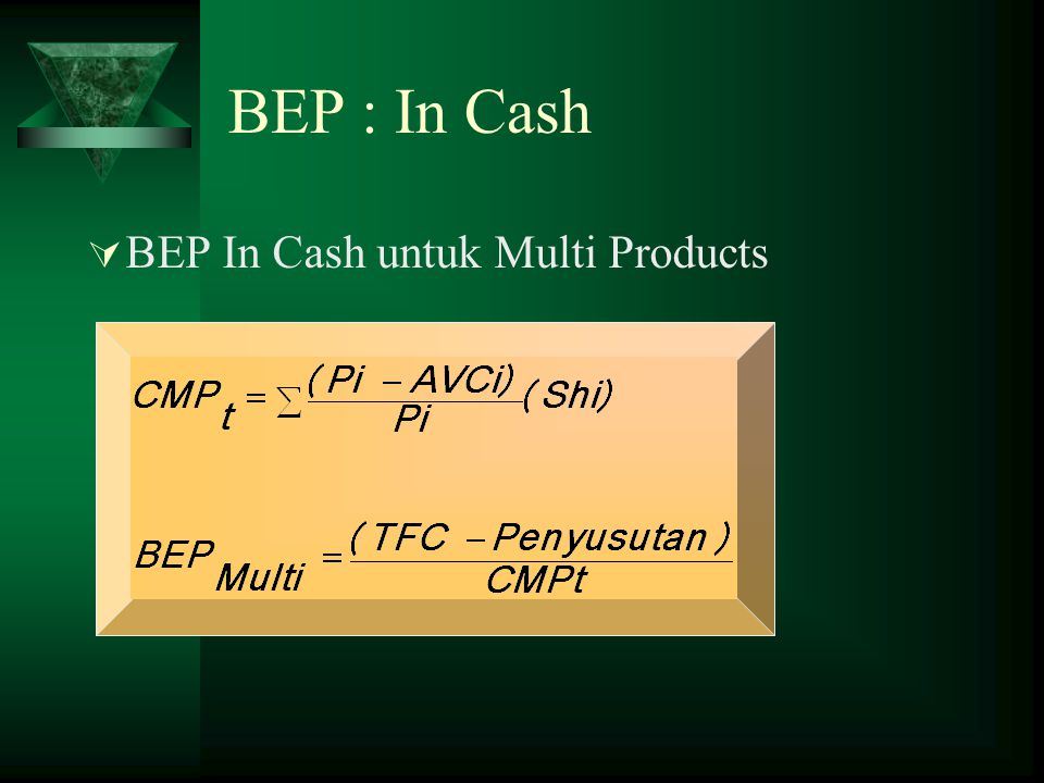 BEP : In Cash BEP In Cash untuk Multi Products