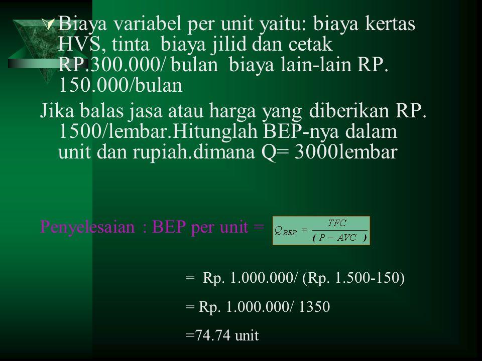 Biaya variabel per unit yaitu: biaya kertas HVS, tinta biaya jilid dan cetak RP.300.000/ bulan biaya lain-lain RP. 150.000/bulan