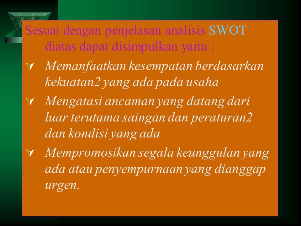Sesuai dengan penjelasan analisis SWOT diatas dapat disimpulkan yaitu :