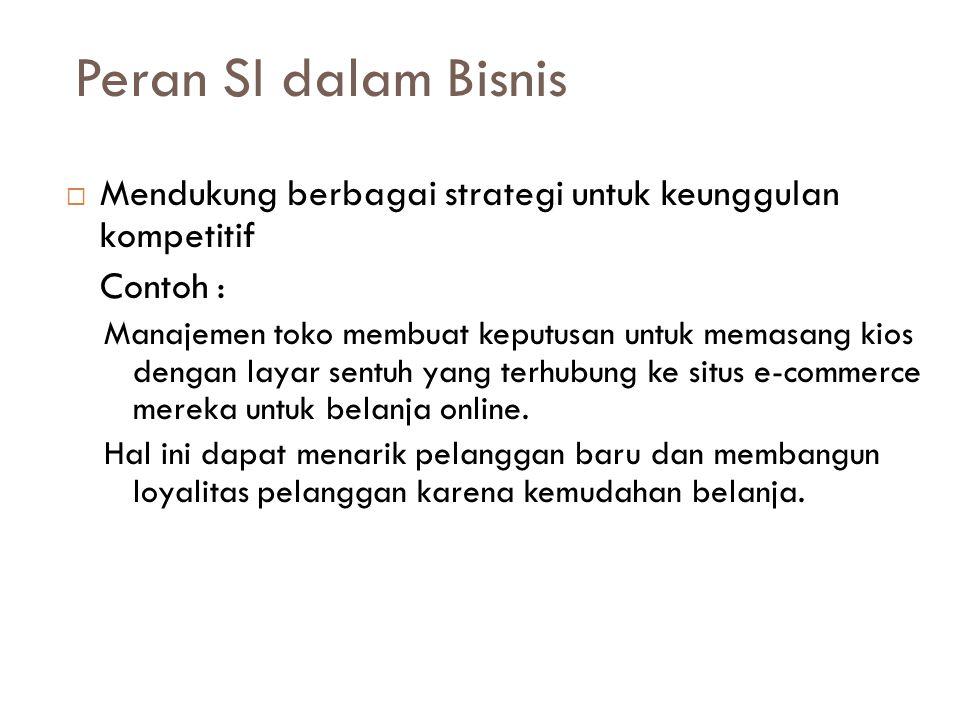 Peran SI dalam Bisnis Mendukung berbagai strategi untuk keunggulan kompetitif. Contoh :