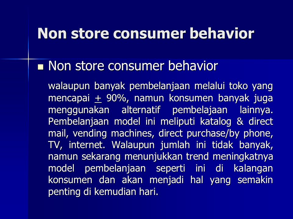 Non store consumer behavior