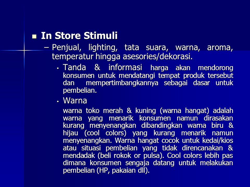 In Store Stimuli Penjual, lighting, tata suara, warna, aroma, temperatur hingga asesories/dekorasi.