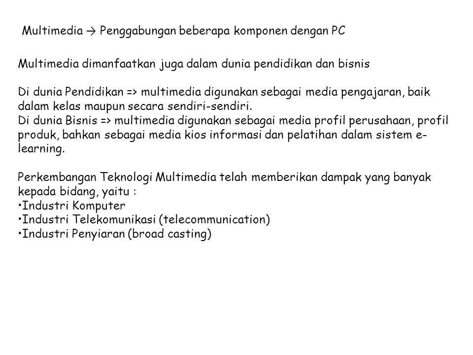Multimedia → Penggabungan beberapa komponen dengan PC