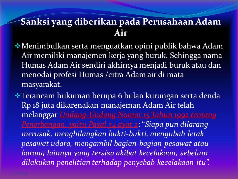Sanksi yang diberikan pada Perusahaan Adam Air