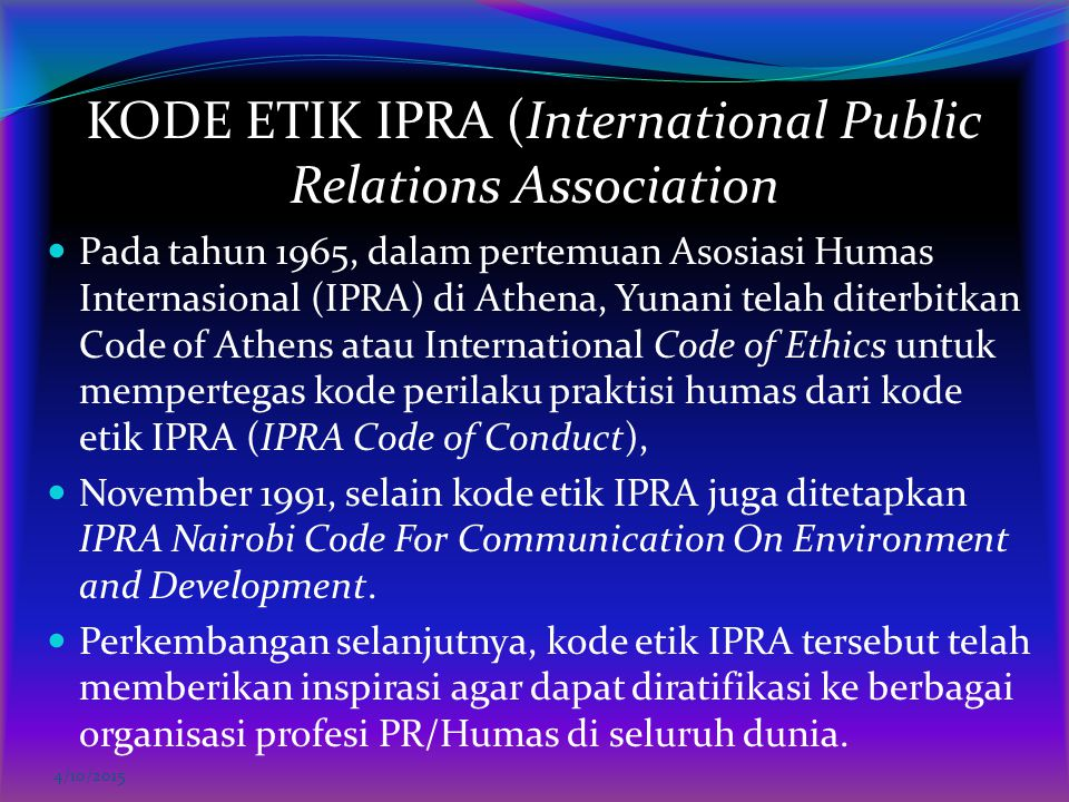 KODE ETIK IPRA (International Public Relations Association