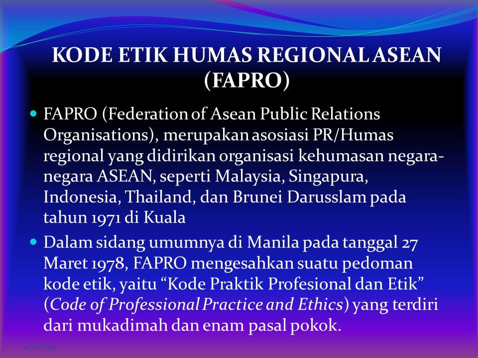 KODE ETIK HUMAS REGIONAL ASEAN (FAPRO)