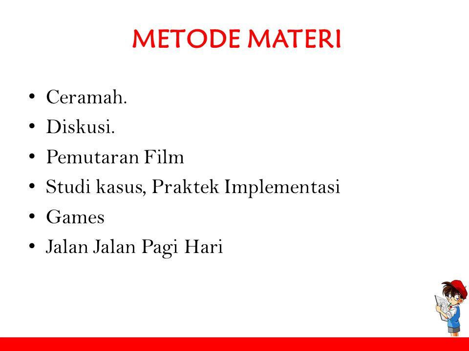 METODE MATERI Ceramah. Diskusi. Pemutaran Film