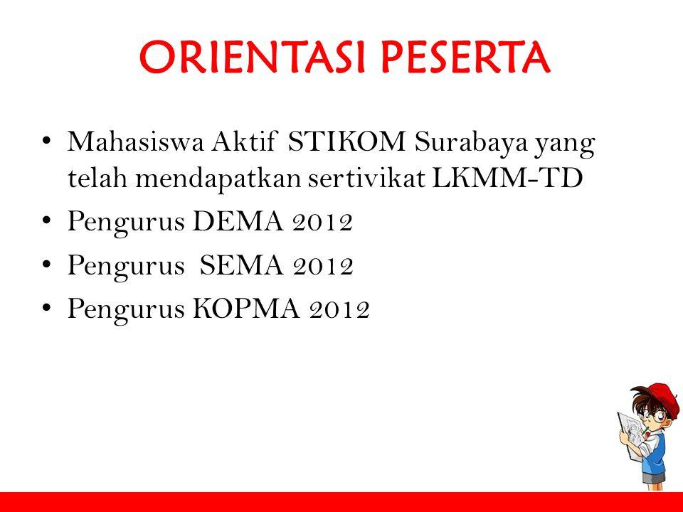 ORIENTASI PESERTA Mahasiswa Aktif STIKOM Surabaya yang telah mendapatkan sertivikat LKMM-TD. Pengurus DEMA 2012.