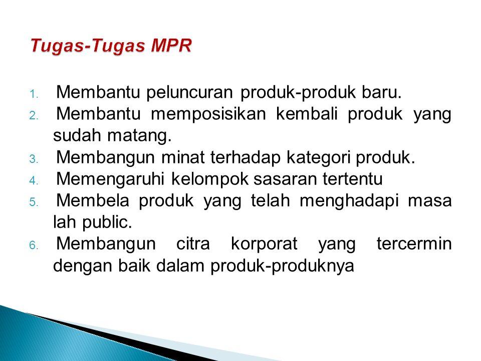 Tugas-Tugas MPR Membantu peluncuran produk-produk baru.