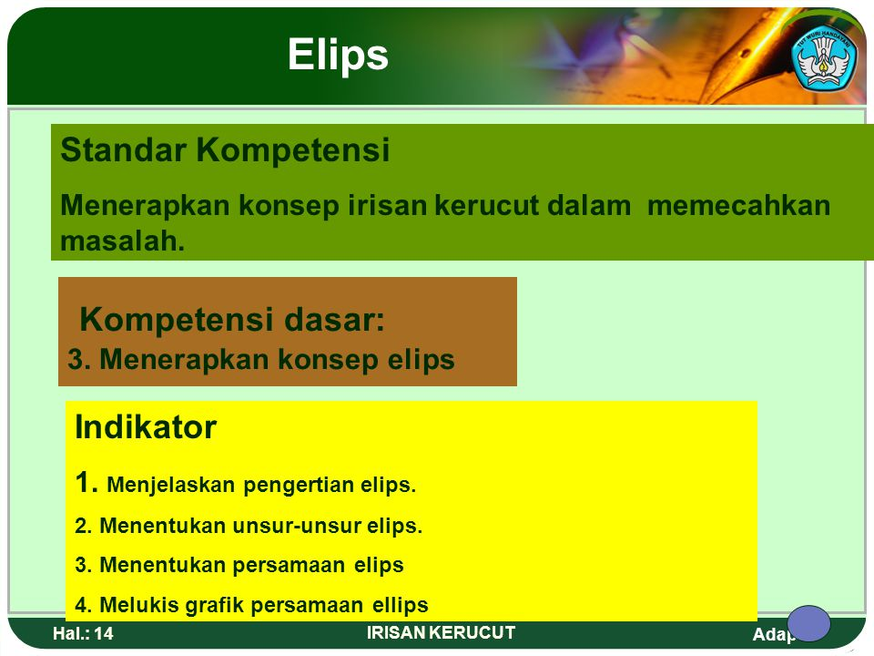 Kompetensi dasar: 3. Menerapkan konsep elips