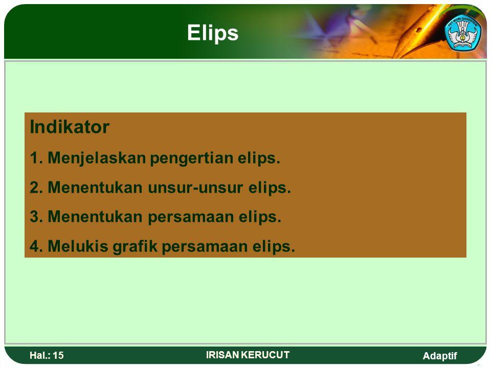 Elips Indikator 1. Menjelaskan pengertian elips.