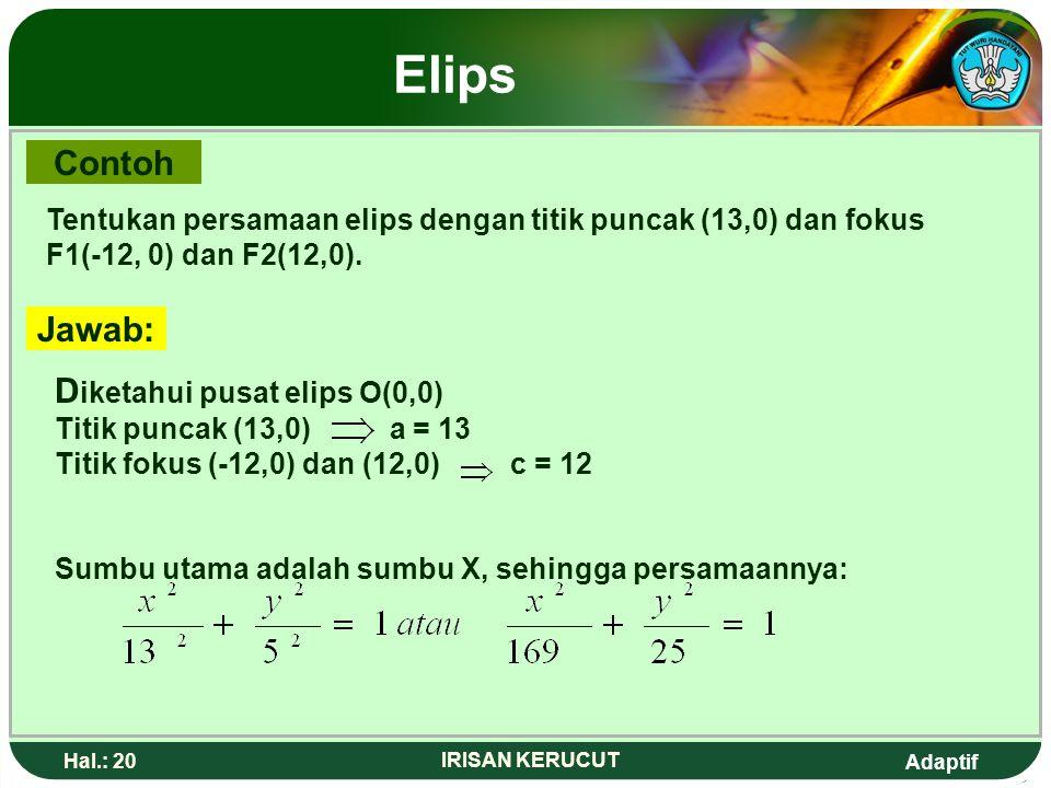 Elips Contoh. Tentukan persamaan elips dengan titik puncak (13,0) dan fokus F1(-12, 0) dan F2(12,0).