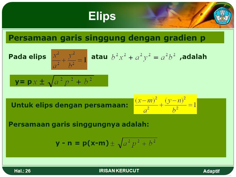 Elips Persamaan garis singgung dengan gradien p y= p