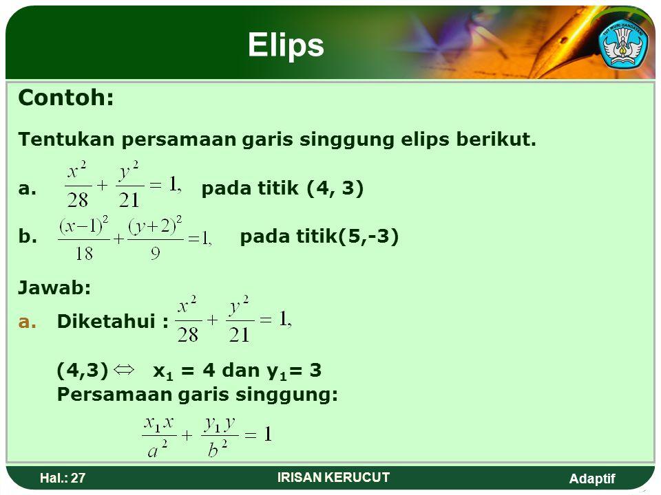Elips Contoh: Tentukan persamaan garis singgung elips berikut.